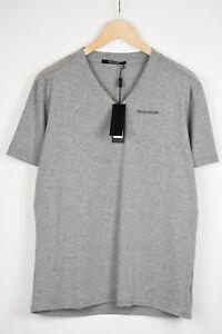 TAKESHY KUROSAWA GRIGIO MELANGE Men X LARGE V-Neck Logo Print T-Shirt 17283*