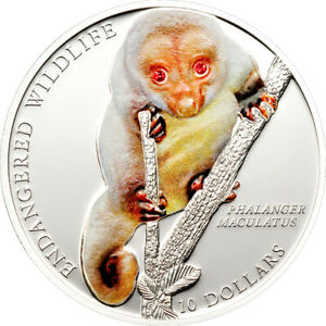 Spotted Cuscus 2010 Solomon Islands $10 Silver Proof Coin with Swarovski Inserts
