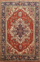 Geometric Indo Heriz Oriental Hand-Knotted Area Rug Dining Room Wool Carpet 8x10