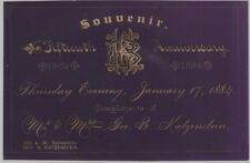 1884 Purple Tinted Celluloid California 'Pioneer' Wedding Anniversary Card
