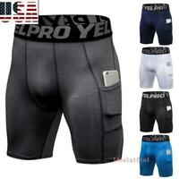 Men's Compression Shorts Briefs Tights Gym Quick Dry Under Pants Sport Wear New