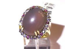 """HSN """"Treasures of India"""" 925 Sterling silver Chalcedony Multi-Gemstone Ring 6"""