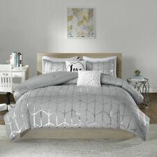 New! ~ Cozy Modern Chic Grey Metallic Silver Chevron Girls Soft Comforter Set ~