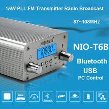 15W PLL FM Transmitter Wireless Bluetooth Antenna Station Stereo Radio 87~108MHz