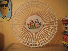 Vintage Corbeille à Fruits Moplen Décor chat Plastique Montecatini Edison Italie