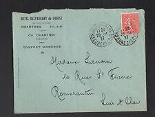 """CHARTRES (28) HOTEL-RESTAURANT DE L'OUEST """"Ch. CHARTIER"""" voyagée en 1927"""