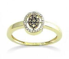 Chocolate Brown Diamond Ring 10K Yellow Gold Diamond Oval Cluster Ring .17ct