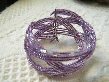 Beautiful Wrap Cuff Bracelet Lavander AB Seed Beads 1 1/2 Inch Wide CUTE