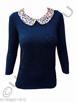 LADIES FASHIONABLE MARKS & SPENCER JUMPER TOP LEOPARD COLLAR SMART CASUAL M&S