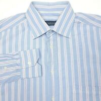 Canali Made In Italy Blue Striped Button Up Long Sleeve Dress Shirt Mens 42-16.5