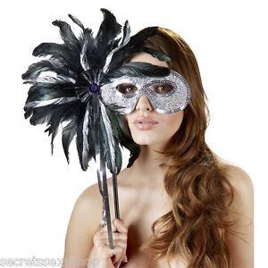 Maschera travestimento mask con piume e glitter carnevale venezia style sexy