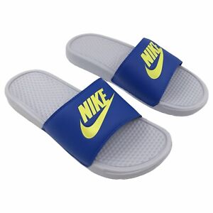 Nike Benassi JDI Just Do It Mens Slides Size US 10 UK 9   Sky Grey Bright Cactus