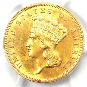 1889 Three Dollar Indian Gold Coin $3 - PCGS Uncirculated Detail (UNC MS) - Rare