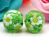 10pcs handmade Lampwork glass round Beads flower 15mm---green white flower
