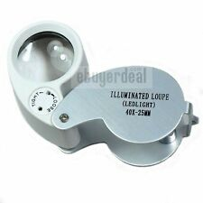 40X25MM Jewelers Loupe ILLUMINATED Magnifying Len Magnifier Glass With LED Light