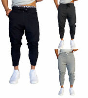 Mens Cotton Trackies Skinny leg tapered Slim Joggers Pants cuff Gym Track Dance