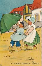 POSTCARD   COMIC    Children    A   Sudden  Shower          May  Gladwin   Tuck