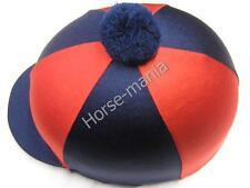 HY Blu Marino/Rosso Pom Pom Equitazione Cappello seta Copertura per casco da fantino TAPPI Taglia Unica