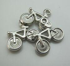 Free 100pcs Silver Bicycle Acrylic Resin beads Pendants Bracelets design 15X21mm
