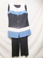 COLDWATER CREEK 2 Piece Top/Pants Set Sz 8 Sleeveless Blues/White Office/Cruise