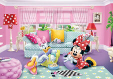 Kids room Wall Mural photo wallpaper 368x254cm Disney Minnie and Daisy blue