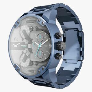 Diesel Mr. Daddy 2.0 57mm Edelstahl Gehäuse Blau Armband (DZ7414)