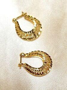 FANCY INTRICATE Genuine 14K YG Diamond-Cut SPARKLY Earrings Leverback Hoop