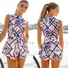 Women Fashion vintage Jumpsuit High Waist Print Playsuit Shorts Rompers S US