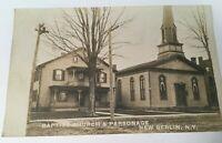 "NEW BERLIN, NEW YORK ""BAPTIST CHURCH & PARSONAGE-1907"" RPPC REAL PHOTO POSTCARD"