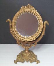 "Iron Art Vintage Cast Vanity Stand Mirror Old Jm 9 Golden Nouveau Cherub 14.5"" H"