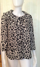 New St. John White Black Shimmer Animal Print Jacket Sweater Blazer Size 8