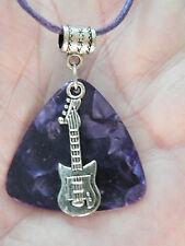 "GUITAR Pick Necklace Purple BIG PIC & Silver Musical Note & Guitar 17.5""-19"" NEW"