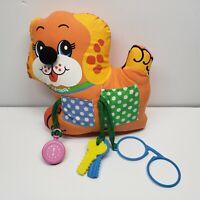 """Vintage Playskool Orange Play Pup Plush Stuffed Animal 8"""" 1983 Glasses Keys"""
