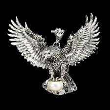 HUGE! FRESHWATER PEARL & MARCASITE FLYING  EAGLE PENDANT 925 STERLING SILVER