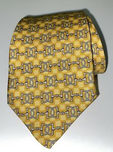 Hermes 630 TA Tie 100% Silk Geometric Print Yellow Made In France