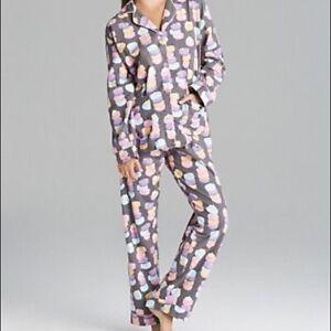 NWT PJ Salvage Gray COLORFUL MACARONS COOKIES Polar Fleece Pajama/Lounge Set S
