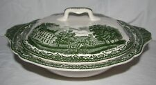 green transferware JOHNSON BROS OLD BRITAIN CASTLES COVERED veggie BOWL tureen