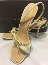 "Shoes RICHARD TYLER 4"" High Heel BONE IVORY Slingback Sandals ITALY Leather 6.5"