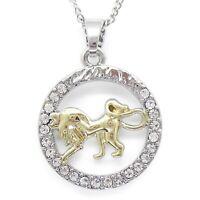 Löwe Anhänger mit Halskette Gold Silber rund Schmuck Kette Sternzeichen 46cm