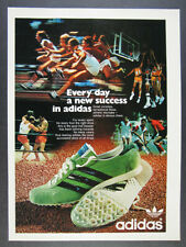 1972 Adidas Shoes green track spikes photo vintage print Ad