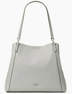 Kate Spade Jackson Nimbus Grey Leather Large Shoulder Tote WKRU6246 Gray $499 FS