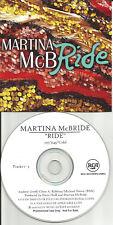 MARTINA McBRIDE Ride REPEATS 3 TIMES PROMO DJ CD single 2008 USA PRINTED LYRICS