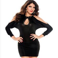 Vestido De Noche Sexy Negocio gewagt Top Largo Negro Anudado Al Cuello Cóctel