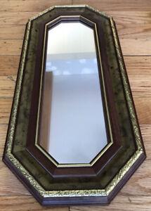 "Vtg Wood Gold Wall Mirror Octagon HOLLYWOOD REGENCY Made In USA 18.5"" X 8.5"""