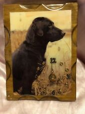 Black lab, battery operated wooden wall clock