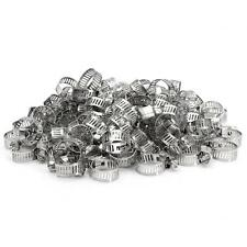 "100pcs 1/4""-5/8"" Hose Clamp Screw Band Worm Drive Stainless Steel Clips Fastener"