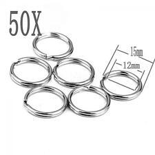 15mm Connectors Pocket Loop Hoop Stainless Steel Split Key Ring KeyChain