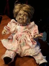 """ZOMBIE BABY DOLL PORCELAIN DOLL HALLOWEEN PROP ZOMBIE PROP SITTING 11"""""""