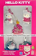 **HELLO KITTY 5p Set MINI HOLIDAY ORNAMENTS Character+Tree+Ball Shaped PINK+BLUE