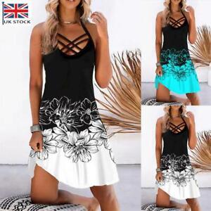 Womens Summer Halter Neck Cami Dress Ladies Beach Floral Mini Sundress Plus Size